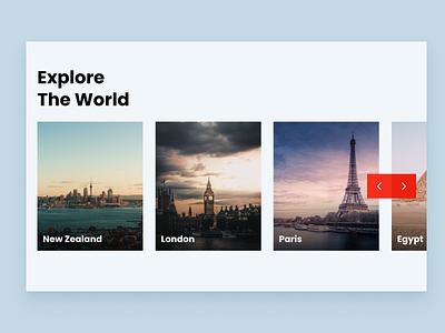 Explore The World - Home Page homepage product design explore modern creative traveling tourism invision studio travel website travel landing page web design web ui design ux ui