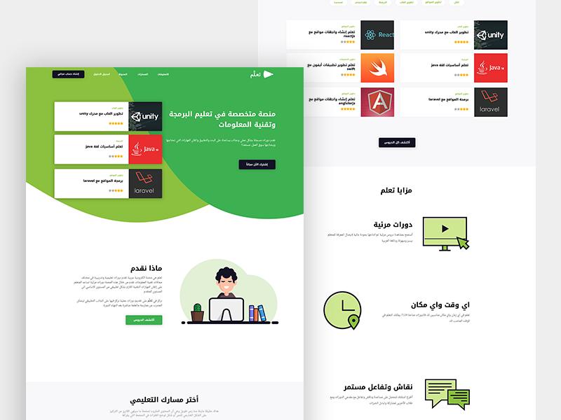 Online programming courses website illustration homepage landing page web design education web ux ui