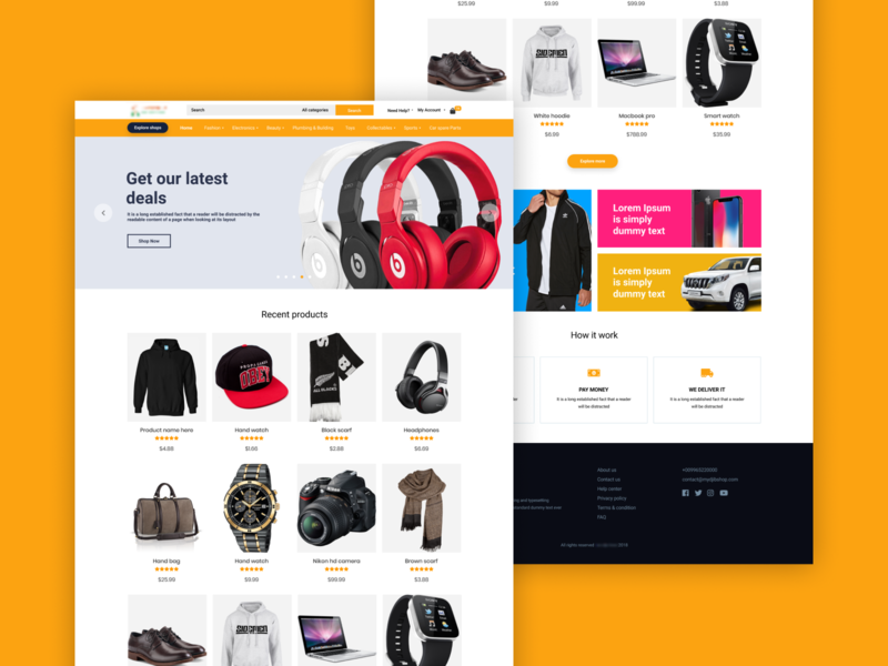 Shopping Website  - Home page creative modern home ecommerce landing page web design web ux ui