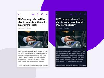 RSS Reader App - Article Screen ux design ux ui design ui rss newsfeed news app news mobile app app screen app design app