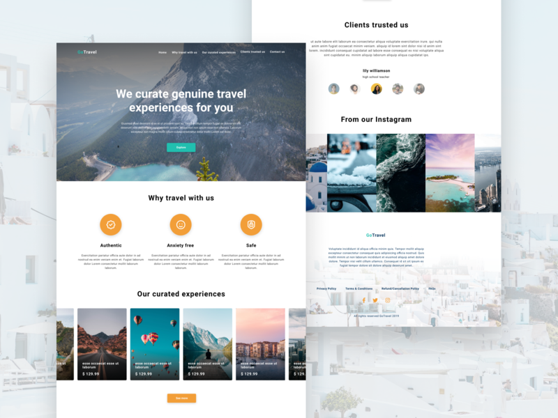 Travel Landing Page tourism homepage agency travel agency travel ux ui ui design landing page web design web