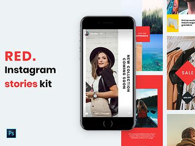 RED Instagram Stories Kit elegant blogger design ui ux instagram story template instagram story instagram stories template instagram stories instagram post instagram banner