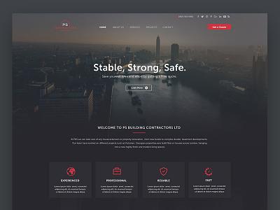 PS Contractors New Website contractor london architechture web ui ux