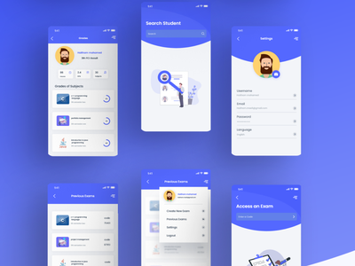 some screens from quiz app illustration ux design ui ux quiz app quiz