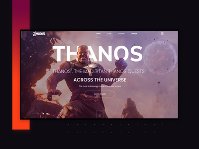 Thanos : avengers Infinity War ui design psd template free ui kit ui design avengers infinity war website xd template freebie xd freebies freebie