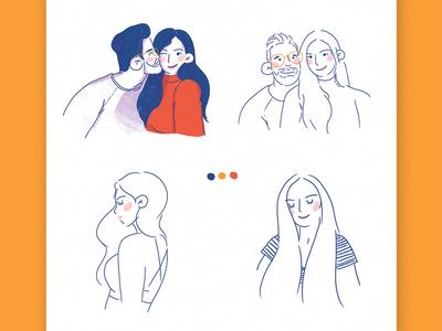 Rough draft of commission portrait couple commission illustration