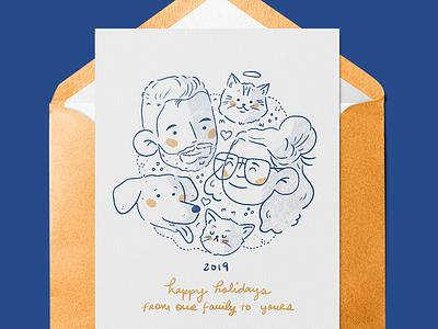 2019 Holiday Card Illustration envelope couple dog cat family illustration card holiday