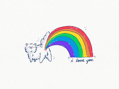 Rainbow Cat love cat rainbow illustration
