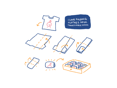 Marie kondo folding illustration