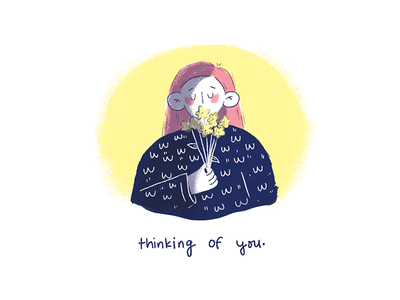 thinking of you cute illustration