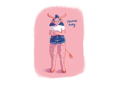Tauro bby cute taurus zodiac illustration