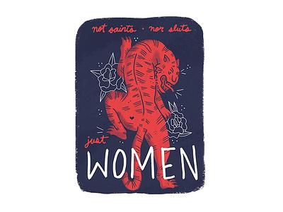 Tiger women feminist women cute tiger illustration print