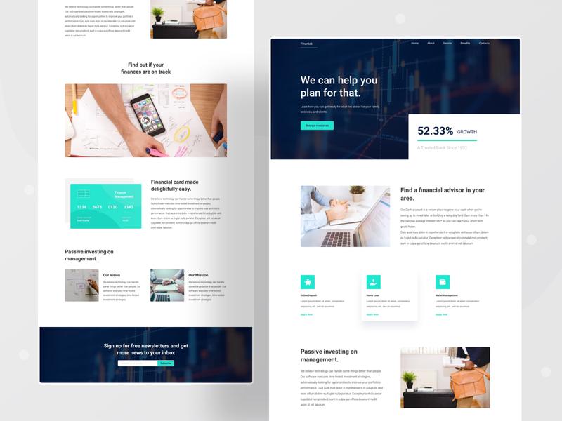 Finatek landing page brand typography webdesigner userexperience finance business loan bank finance designinpiration userinterface user interface design webdesign uidesign uxdesign ui ux design graphicdesign behance