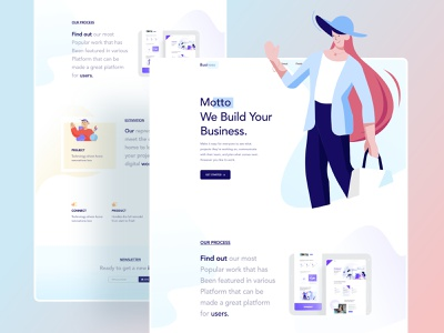 Landing page exploration fashion business digital graphic design layout agency product user experience userinterface graphicdesign ux website web design ui header character color illustrations illustration
