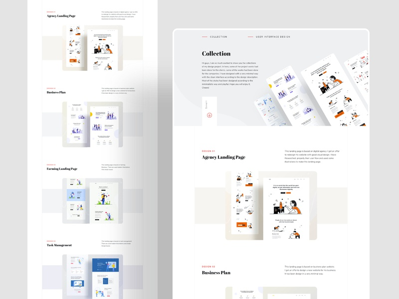 UI design collection research typography business website design interaction design user experience userinterface landing page project behance ux website web design character header ui color illustrations illustration