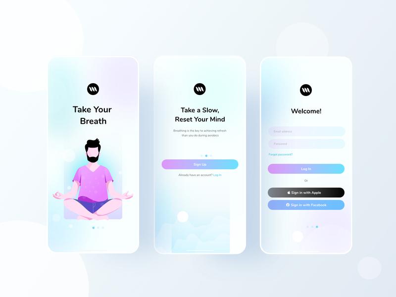 Mental Health Mobile Application mobile design agency mobile app design breath meditation mental health android ios mobile app mobile branding typography web website character design ui color illustrations illustration