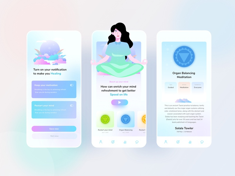 Mental Health Application mobile ui website mental disorder trendy android app ios web application mobile mental health awareness mental health meditation branding ux gradient design ui color illustrations illustration