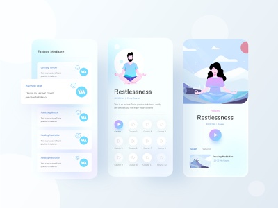 Meditation app part 3 application hybrid app hybrid ios mobile uiux mobile ui mobile app relax meditation business typography gradient ux website web design header ui illustrations illustration