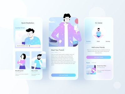 Meditation app 4 business trendy mind hybrid app android app ios uiux mobile ui mobile app mental health medtation typography ux website web design ui illustrations illustration