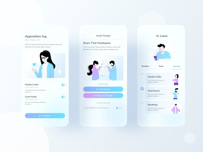 Mental Health - part 5 uiux hybrid app android ios application mobile app color workout meditation mental health typography website ux web character design header ui illustrations illustration