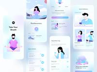 Mental Health Application mobile app application design uiux trend healing hybrid android ios mental health meditation application typography ux website design ui header color illustrations illustration