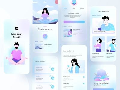 Mental Health Application mobile app application design uiux trend healing hybrid android ios mental health meditation application typography ux website design ui header color illustrations illustration