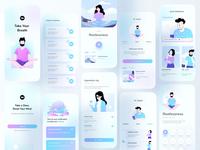 Mental Health Application uiux application mobile app design hybrid ios mobile application mobile app healing mental health meditation typography ux website web header design ui color illustrations illustration