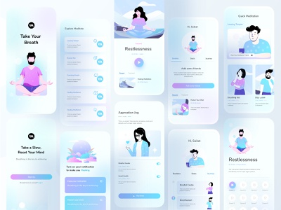 Mental Health Application uiux application mobile app design hybrid ios mobile application mobile app healing mental health meditation typography ux website web header design ui color illustrations illustration
