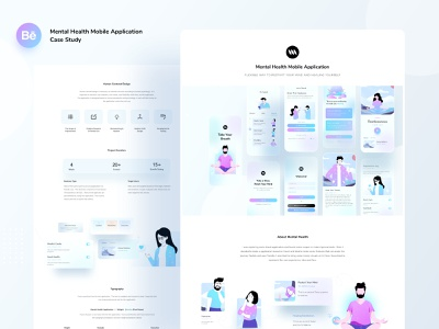 Mental health mobile application case study ios7 research users mental health meditation uxdesign ios app nobile typography ux website web design header ui color illustrations illustration