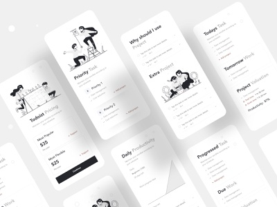 Todoist Application Redesign app task management task projectmanagement todoist hybrid ios mobile app design mobile app mobile ui typography ux character website web design header ui illustrations illustration