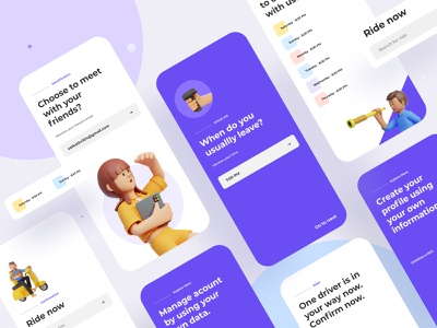 Virtual connection mobile application 3d application ios mobile app web uxui rent delivery rider connection app business typography ux website design header ui illustrations illustration