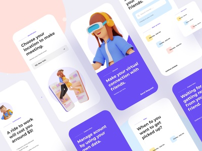 Virtual connection mobile application delivery app applicaiton webdesign application design ios mobile design mobile ui vr virtual application business gradient typography ux web website design ui illustrations illustration
