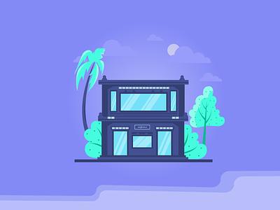 Illustration moonlit night tree moon cloud market office conference house home illustrations illustration