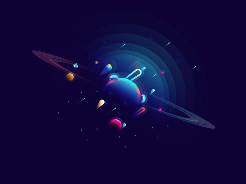 Planet dark vector star earth space illustrations illustration sky color gradient planet