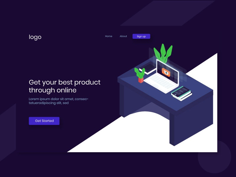 Header E Commerce table web environment tree laptop isometric illustrations illustration commerce e header