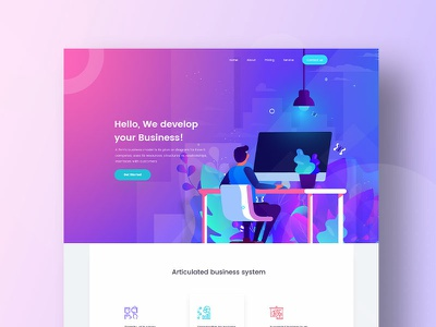 Business Development landing strategy application development business 2019 application trend gradient tree ux branding typography website web ui header character illustrations color illustration