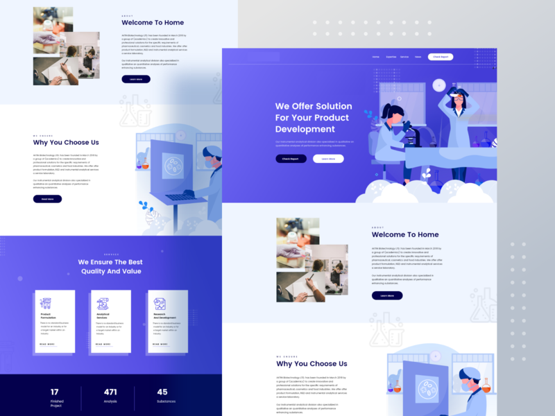 chemical testing landing page analysis business trend chemist report test chemical character ux website gradient design typography color ui header illustrations illustration