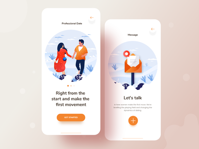 Dating app exploration couple relationship dating android ios apps mobile app nature ux vector typography web website gradient character ui illustrations color illustration