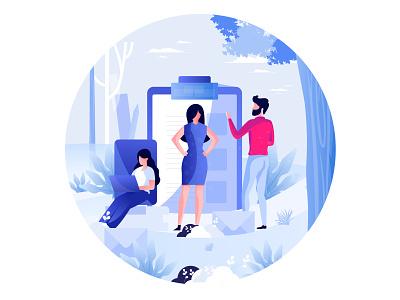 Illustration tree mail data nature meeting 3 working message business ux design vector website gradient ui header character illustrations color illustration
