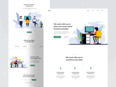 business analyst landing page agency firm consultancy minimal analyst analysis business ui header gradient ux website web design character illustrations color illustration