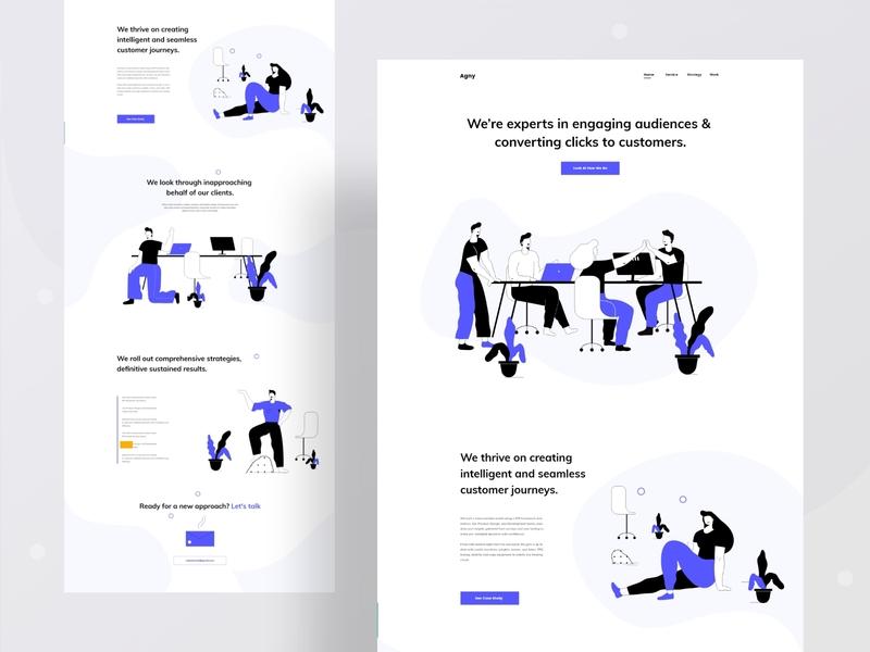 Landing page exploration minimal trendy corporate firm agency branding ux typography website web design character ui header illustrations illustration
