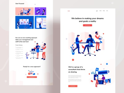 Consultation based landing page exploration webdesign research ux product design growth business meeting branding consultation typography gradient web website design character ui header illustrations illustration