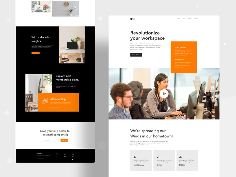 Co-working space landing page analysis ux business office space office co working gradient design website web character header color ui illustrations illustration