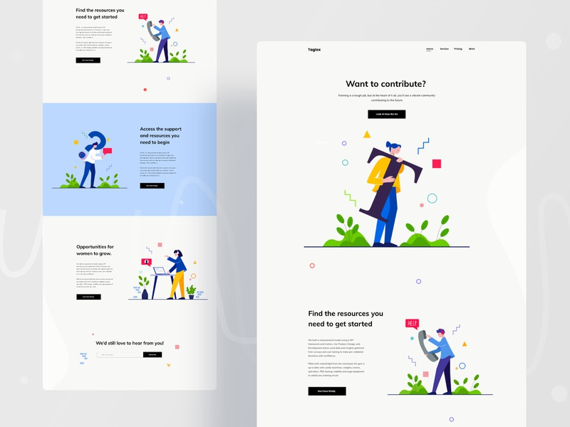 Farming landing page exploration agricultural agribusiness research startup firm cultivation farming agriculture typogaphy gradient ux website design web character color ui header illustrations illustration