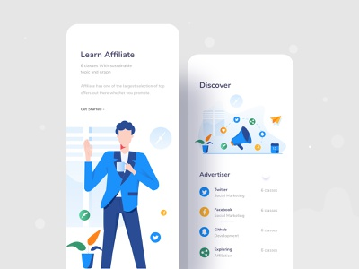 Affiliate learning application user characters ios content strategy affiliate marketing mobile application apps ux web website design character header color ui illustrations illustration