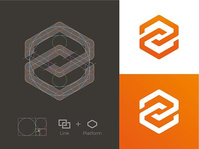 Link + Platform Logomark platform icon link icon link logo platform logo hexagon logo hexagon tech logo software logo logo grid mark branding identity logodesign logo