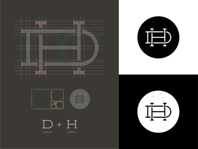 DH Monogram dh monogram dh logo h monogram h logo d monogram d logo grid logomark monogram logo grid mark branding logo identity