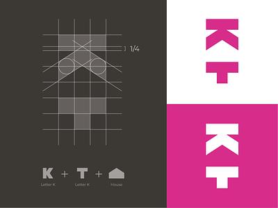 K + T + House Logomark bed and breakfast logo house icon house logomark house logo kt monogram kt logo t monogram t logo k monogram k logo monogram logo grid mark branding logo identity