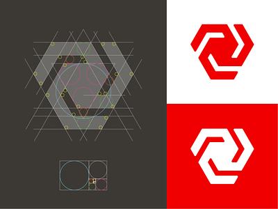 Vortex Logomark triangle logo triangle golden. ratio logo golden ratio vortex logo vortrex v logo logo system monogram logo grid mark branding identity logo