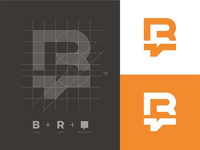 R + B + Communication mark branding logo identity logo grid monogram talking cloud logo communication logo r logo r monogram rb logo rb monogram